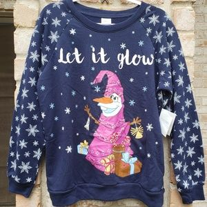 Disney Let it Glow Olaf Christmas sweatshirt XL